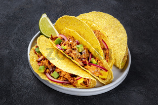 Cochinita pibil taco shells, a Mexican snack with pulled pork and avocado and marinated red onion, a close-up shot on a dark background