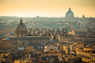 Eternal city of Rome rooftops and towers golden sunset view