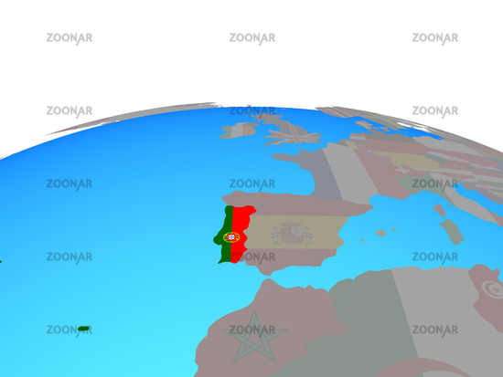 Map of Portugal with flag on globe