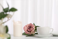 Rose with cup and candle in front of curtain white