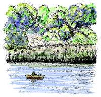 Fisherman. Silence. Sketch