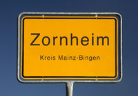 Zornheim place name sign, a municipality in the district of Mainz-Bingen, Germany, Europe