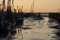 Harbor North Sea on the Wadden Sea at low tide and after sunset in Dorum