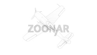 Line illustration of a world war 2 fighter airplane isolated in white background