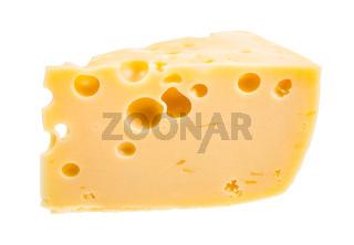 piece of yellow semi-hard swiss cheese isolated