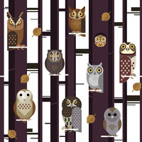 Vector seamless pattern with cute owls, leaves, forest trees
