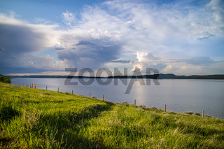 A beautiful lake park in Mikesell Potts Recreational Area, Wyoming