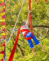 Woman Doing Fabric Acrobatic at Park, Montevideo, Uruguay