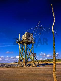Fischerhütte am Strand von Saint Michel Chef Chef, Atlantik, Frankreich