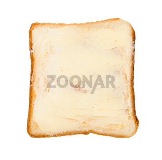 open sandwich with toast and butter isolated