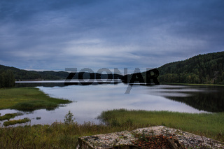 Lake in Karelia. summer natural landscapes in travel.