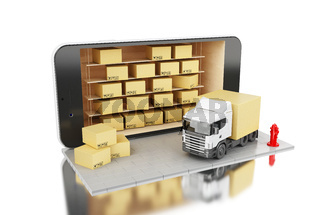 3D Smartphone with cardboard boxes. delivery shipping concept.