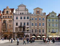 Tourists at a historic square in Prague