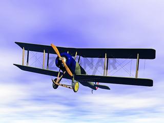 Doppeldecker Flugzeug am Himmel
