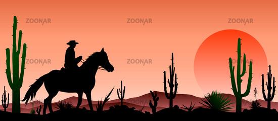 Desert, man riding a horse , cacti, sunset