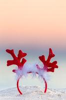 Christmas reindeer antlers on an Australian beach