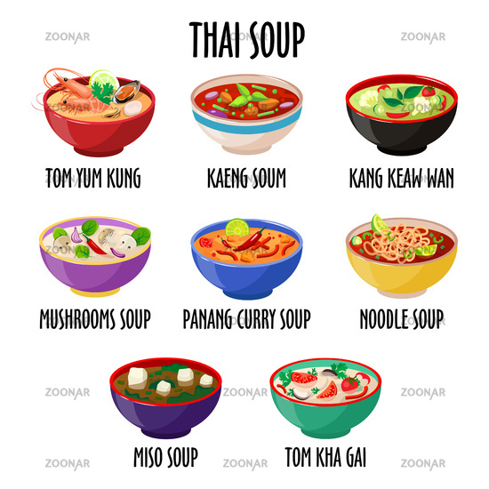 Thai soup icon set, different dishes in colorful bowls isolated