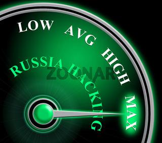 Russia Hacking Meter Shows Maximum Attack 3d Illustration