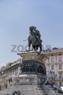 Milan, Italy Duomo Square King Victor Emmanuel equestrian monument.