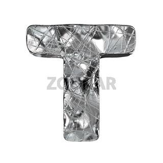 Grunge aluminium foil font letter T 3D