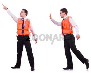 Man in life-jacket isolated on white