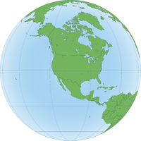 Earth globe with focused on North America