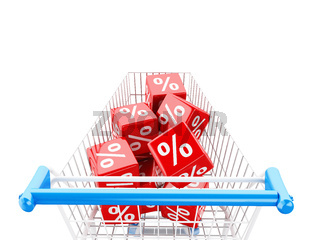 3d Shopping cart with discount cubes.