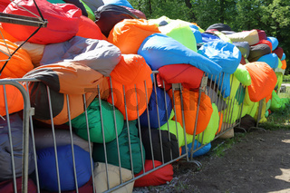 Pile of colorful armchair-bags