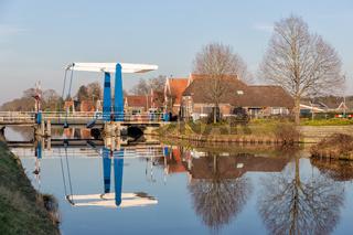 Drawbridge over canal near Smilde in Drenthe, The Netherlands