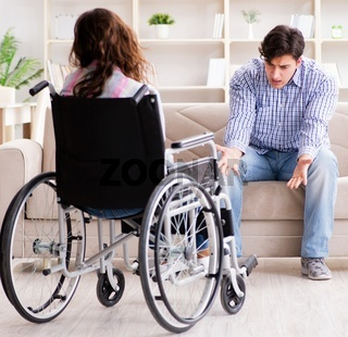 The desperate disabled person on wheelchair
