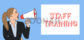Writing note showing Staff Training. Business photo showcasing A program that helps employees to learn specific knowledge Woman Jacket Ponytail Shouting into Loudhailer Rectangular Box.