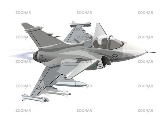 Cartoon Military Jet Fighter Plane Isolated