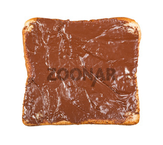 open sandwich with toast and chocolate spread