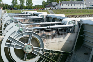 river locks and weir to regulate water flow in canal system