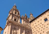 Casa de la Conchas and Le Clericia church in Salamanca Spain