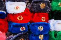 Souvenir Russian winter fur caps