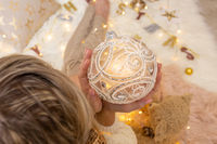 Ornate decorative swirly glitter design Christmas bauble decoration