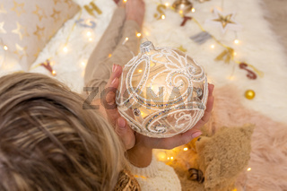 Ornate decorative swirly glitter design Christmas bauble decoration