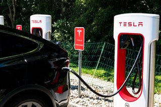 Tesla Super Charging Station in Maienfeld allowing free charging of all Tesla cars within an hour