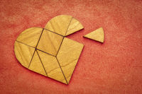 wooden heart tangram puzzle