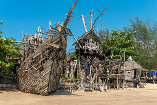 Ship hull from driftwood is part of the incredible Hippie Bar on Ko Phayam