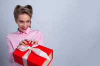 Woman taking big gift