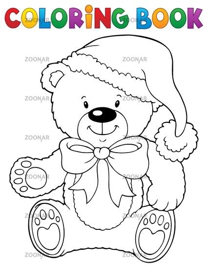 - Photo Coloring Book Christmas Teddy Bear Topic Image #14512462