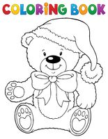 Coloring book Christmas teddy bear topic