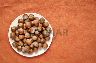 hazelnuts on a white plate