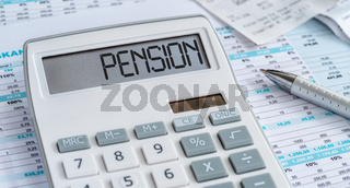 A calculator with the word Pension on the display