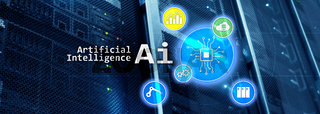 Artificial intelligence hi-tech business technologies concept. Futuristic server room background. AI