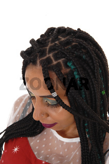 Woman with braided hair , top of her head