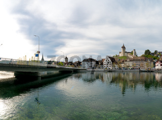 Schaffhausen, SH / Switzerland - 22 April 2019: view of the city of Schaffhausen with the bridge across the Rhine and city limits sign