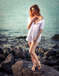 Portrait of a beautiful sexy woman outdoor